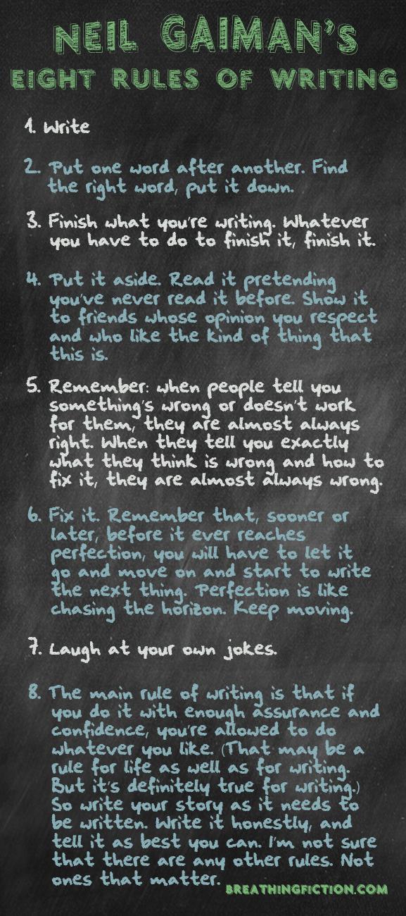 Neil Gaiman's 8 Rules For Writing