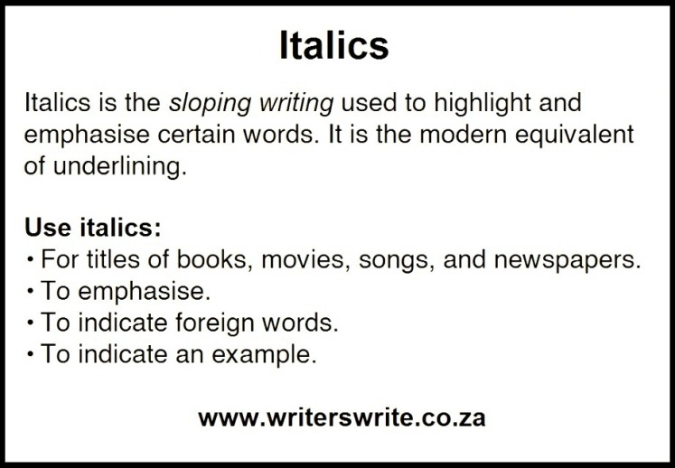 when to use italics in essay writing Review some of apa style's guidelines on scholarly writing for topics such as abbreviations apa has specific guidelines for the use of italics.