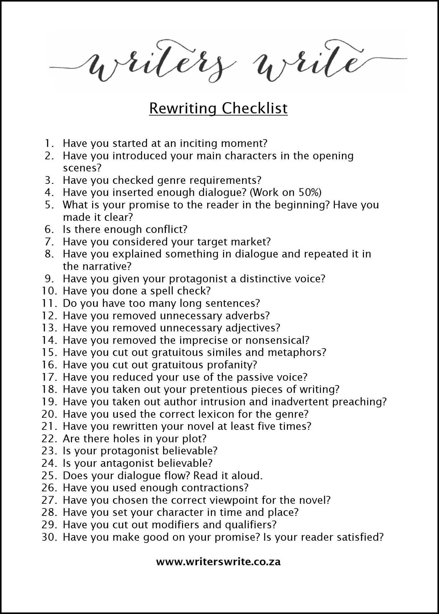 Rewriting Checklist