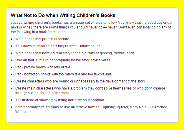 cheat sheets for writing children's books