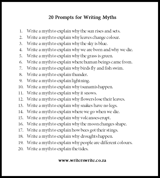 20 Myths To Use As Writing Prompts - Writers Write