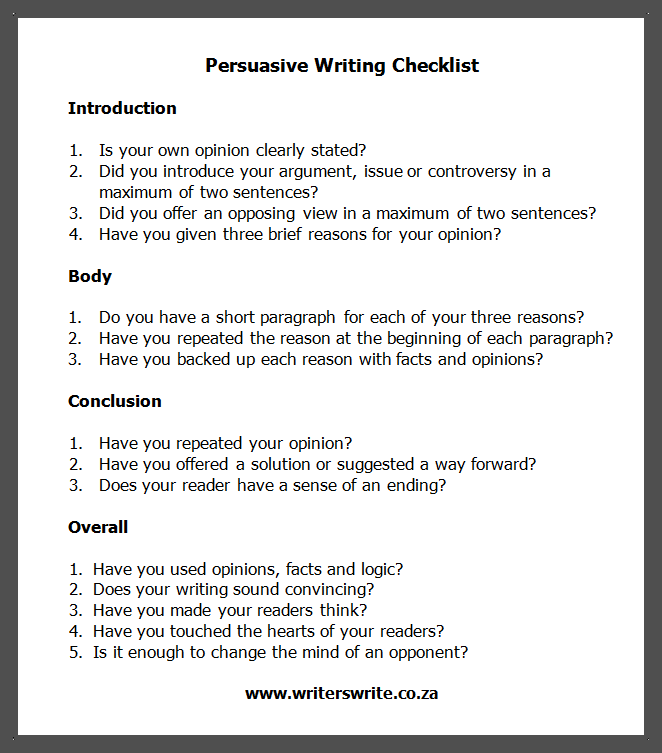 Persuasive speeches writers