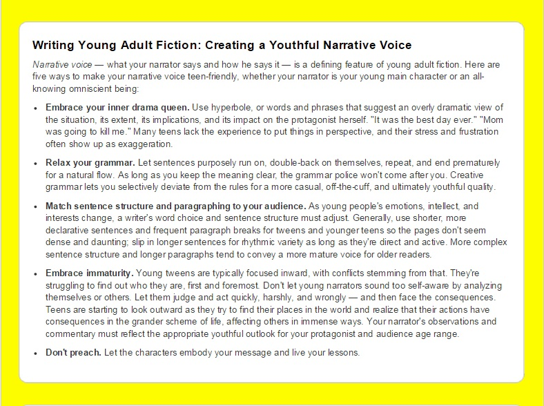 Writing Young Adult Fiction - A Cheat Sheet