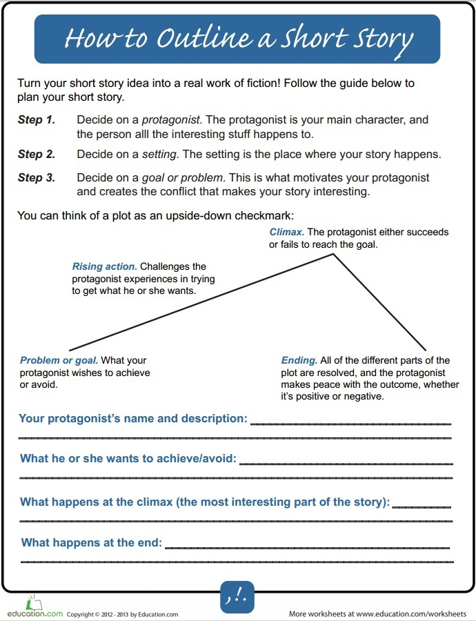How To Outline A Short Story For Beginners Writers Write – Plot Outline Worksheet