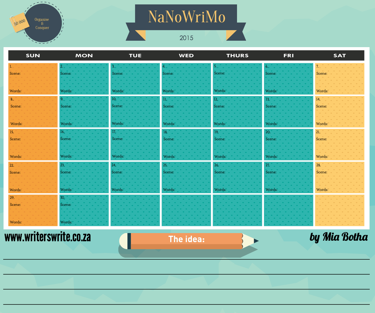 NaNoWriMo Calendar – Organise and Conquer!