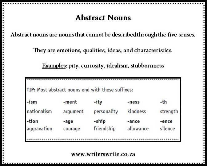 Abstract Nouns Writers Write