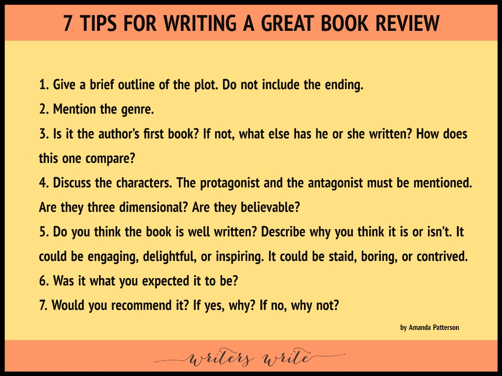 How To Make A Book ~ Tips for writing a great book review writers write
