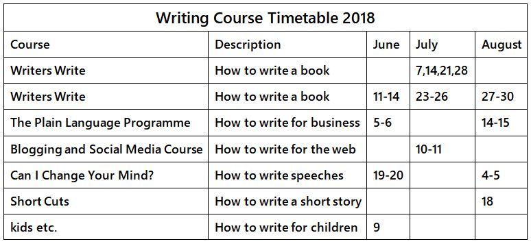 Timetable June - August 2018 - Writers Write