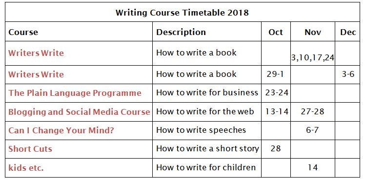 Writers Write Course Timetable October-December