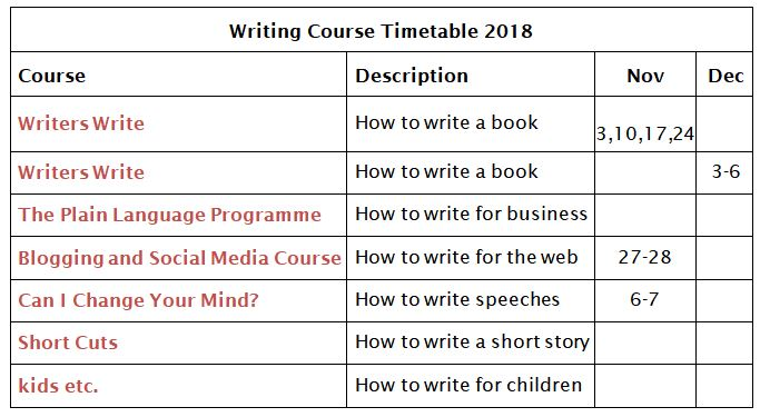 Writers Write Course Timetable November -December 2018