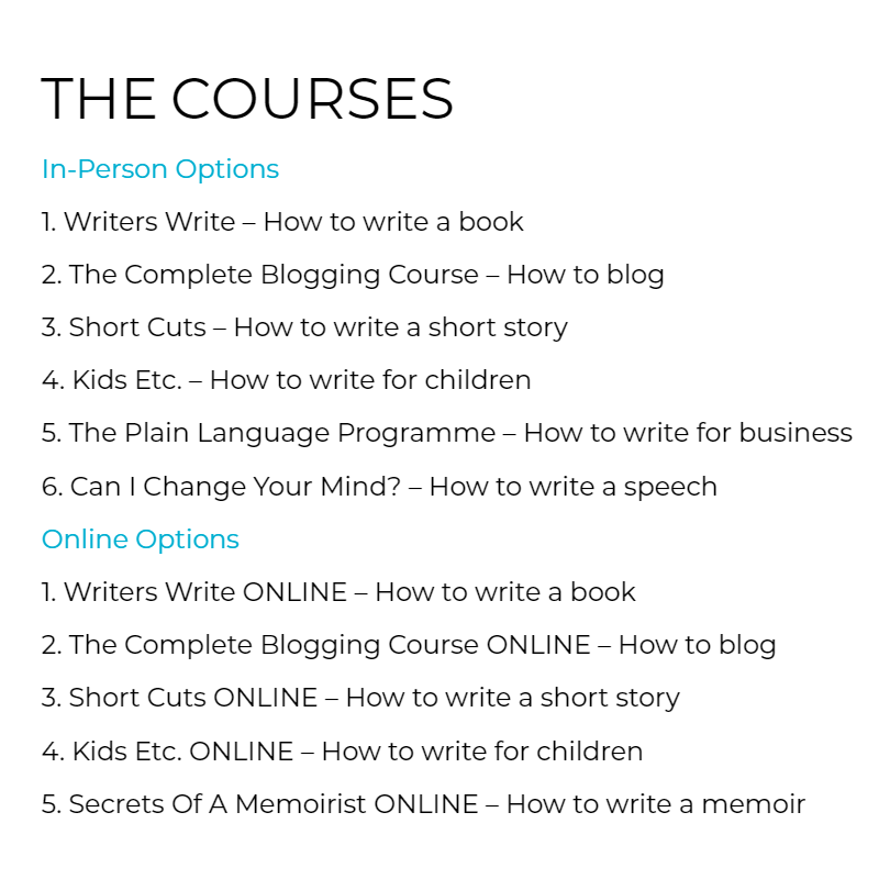The Courses At Writers Write